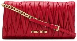 Miu Miu quilted logo clutch bag