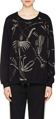 Dries Van Noten Women's Feather-Embroidered Drawstring-Hem Sweater