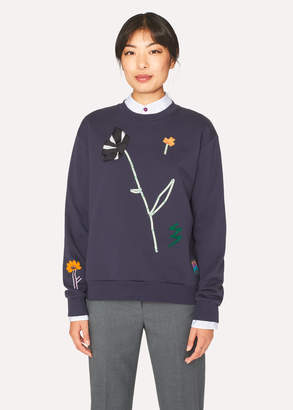 Paul Smith Women's Dark Navy Embroidered Flowers Sweatshirt