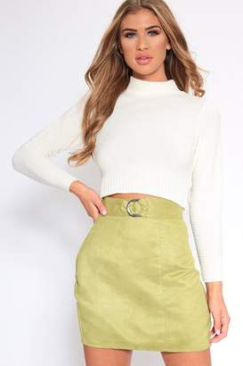 964dcbfc2 I SAW IT FIRST Khaki Belted Suede Mini Skirt
