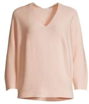 Peserico Fine Rib-Knit V-Neck Sweater