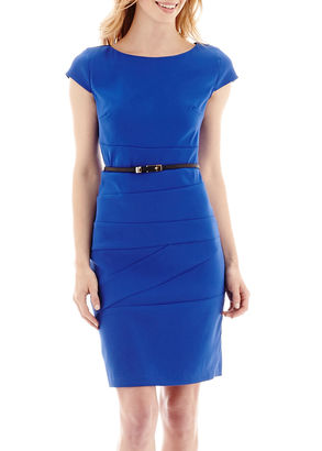 Alyx Short-Sleeve Belted Spliced Sheath Dress $60 thestylecure.com