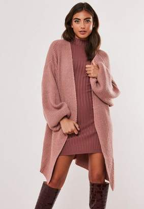 Missguided Rose Rib Balloon Sleeve Oversized Cardigan