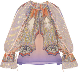 Etro - Printed Silk-chiffon And Fil Coupé Blouse - Pink $1,470 thestylecure.com