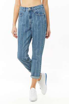 Forever 21 Pinstriped Straight-Leg Jeans