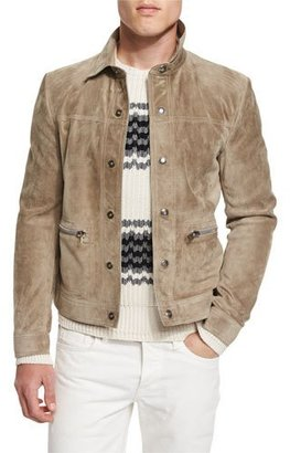 TOM FORD Cashmere Suede Trucker Jacket w/Zip Pockets, Tan $6,820 thestylecure.com