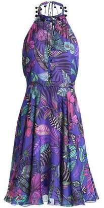Matthew Williamson Cutout Printed Silk Halterneck Dress