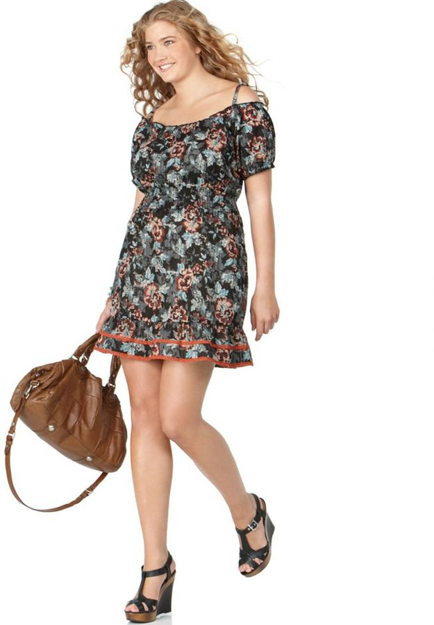 American Rag Plus Size Dress, Off-the-Shoulder Printed Peasant