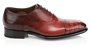 Santoni Men's Croc-Embossed Leather Dress Shoes