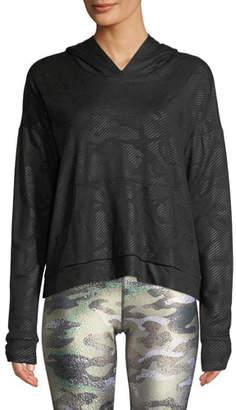 Terez Camo Foil Printed Cross-Back Hoodie Sweatshirt