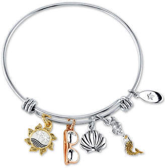 Unwritten Life's a Beach-Inspired Charm Bangle Bracelet in Stainless Steel & Tri-Tone