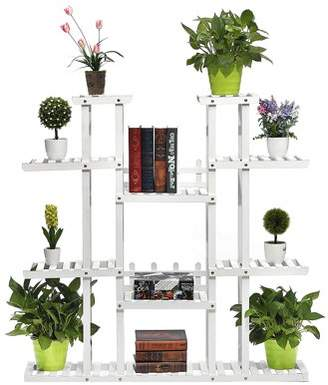 Augienb 9-Tier AUGIENB Wooden Flower Stand Rolling Flower Plant Display Stand Shelf Ladder Stand for Living Room Balcony Patio Yard Indoors & Outdoors Ample for 17 Pots