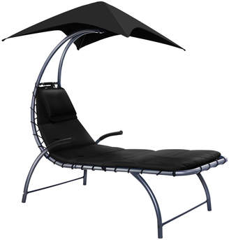 Dwell Outdoor Black Tadlac Outdoor Sun Lounge with Canopy