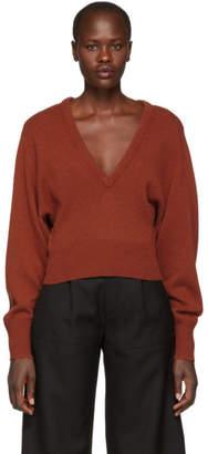 Chloé Orange Cashmere V-Neck Sweater