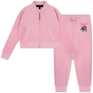 Juicy Couture Juicy CoutureGirls Pink Velour Pansy Party Tracksuit