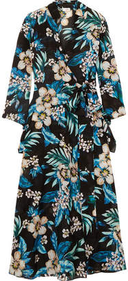 Diane von Furstenberg Floral-print Cotton And Silk-blend Wrap Dress - Black
