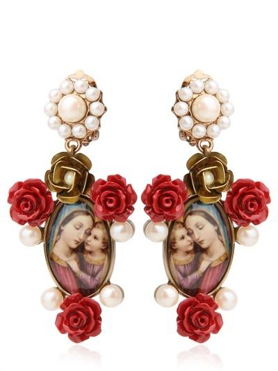 Dolce & Gabbana Virgin Mary & Red Rose Resin Earrings