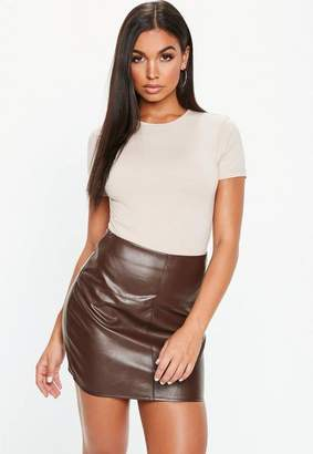 Missguided Chocolate Faux Leather Mini Skirt