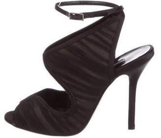 Oscar de la Renta Satin Ruched Sandals