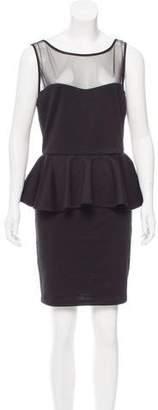 Aqua Sleeveless Peplum Dress