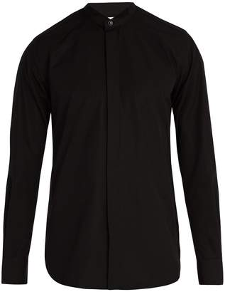 Saint Laurent Wing-collar cotton-poplin tuxedo shirt