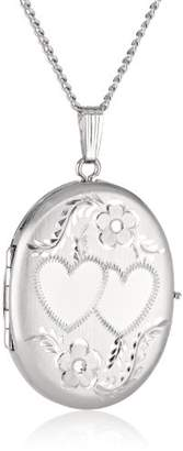 Sterling Oval Hand Engraved Four-Picture Locket Necklace