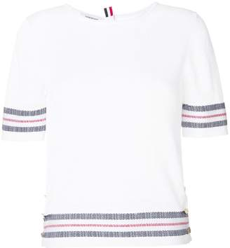 Thom Browne Mesh Stitch Crew Neck Tee With Float Stitch Red, White And Blue Stripe In Cotton Crepe