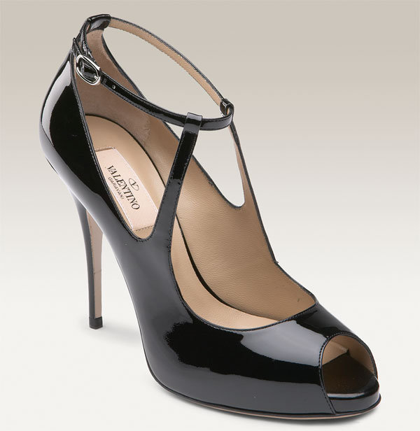 Valentino Patent Leather Peep Toe Pump