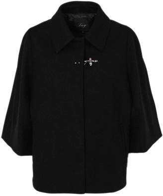 Fay Cape In Black Cashmere Wool Mix.
