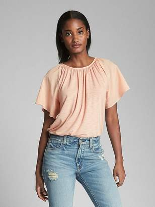 Gap Flutter Sleeve Lace-Up Top