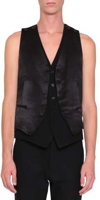 Ann Demeulemeester Black And White Satin Layered Vest