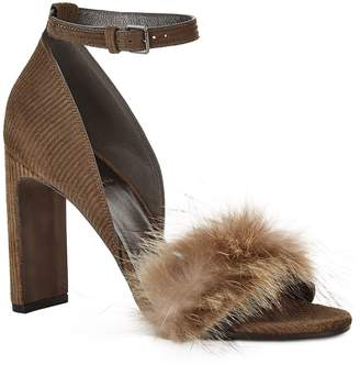 Brunello Cucinelli Ribbed Fur Strap Sandals 100