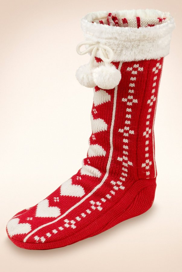 M-swoman Heart Handknit Pom-Pom Slipper Socks