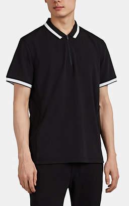 Aztech Mountain Men's Stripe-Trimmed Quarter-Zip Polo Shirt - Black