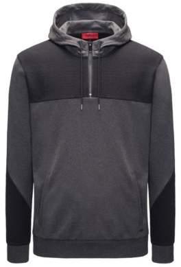 HUGO Boss Two-Tone Jersey Cotton Hoodie Dason XS Dark Grey