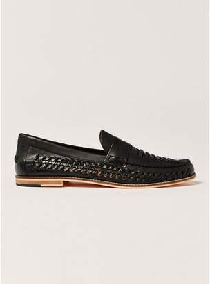 Topman Mens Black Leather Weave Mantis Loafers