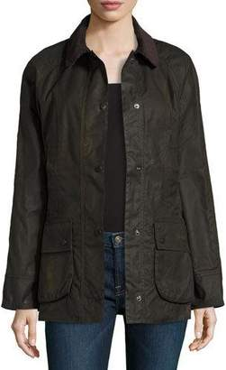 Barbour Classic Beadnell Wax Utility Jacket, Olive $399 thestylecure.com