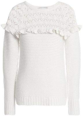 Autumn Cashmere Ruffle-Trimmed Paneled Pointelle-Knit Sweater