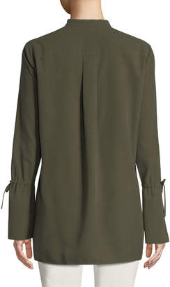 Lafayette 148 New York Desra Bell-Sleeve Button-Front Silk Blouse