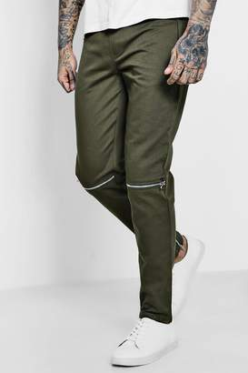 boohoo Twill Zip Knee Jogger Style Trousers