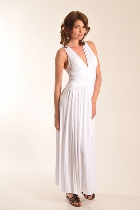 Rubber Ducky Ruched Grecian Goddess Long Dress in White