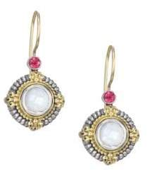 Konstantino 5MM Mother-Of-Pearl, Pink Tourmaline, Sterling Silver & 18K Yellow Gold Post Earrings