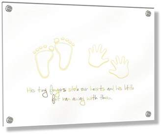 Camilla And Marc Feel Good Art Wall Mounted 3D Acrylic Frame with Stand-off Bolts (20 x 30 x 0.6 cm, Small, Multicoloured, His Little Feet Stole our Hearts)