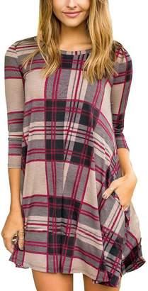 BEIGE Boosouly Women's Cute Tartan Check Print 3/4 Sleeve Long Top Swing Mini Dress Navy Blue L