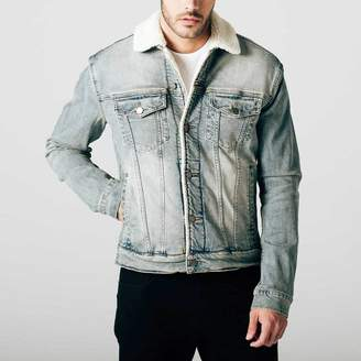 DSTLD Mens Sherpa Lined Denim Jacket in Light Vintage