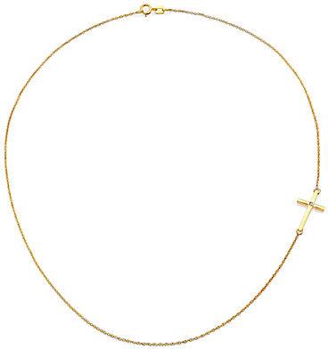 Mizuki Diamond & 14K Yellow Gold Side Cross Necklace