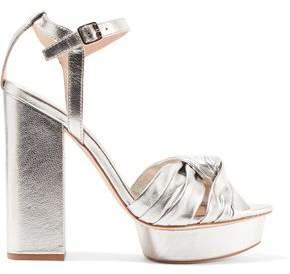 COM Loeffler Randall Arbella Knotted Metallic Textured-Leather Platform  Sandals