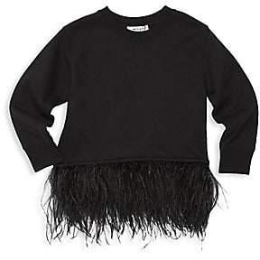 Milly Little Girl's & Girl's Feather-Trim Sweatshirt