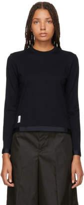 Thom Browne Navy Sheer Back Sweater