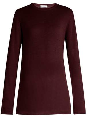 Raey Long Line Fine Knit Cashmere Sweater - Womens - Burgundy